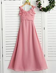 cheap -A-Line Maxi Junior Bridesmaid Dress Wedding Chiffon Sleeveless Boat Neck with Cascading Ruffles