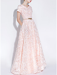 cheap -A-Line Elegant Pink Prom Formal Evening Dress V Neck Short Sleeve Floor Length Lace with Sash / Ribbon Appliques 2020