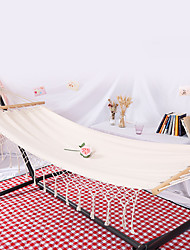 cheap -Camping Hammock Outdoor Fast Dry Decoration Adjustable Flexible Hemp Rope Pure Cotton with Carabiners and Tree Straps for 1 person White 200*80 cm with Hardwood Spreader Bars