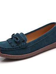 cheap -Women's Flats Flat Heel Round Toe Bowknot PU Sweet / Minimalism Spring & Summer Black / Almond / Green