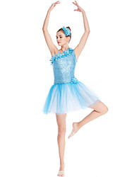 cheap -Ballet Dresses Girls' Performance Elastane / Tulle / Lycra Floral Trim / Pleats / Paillette Sleeveless High Dress / Headwear