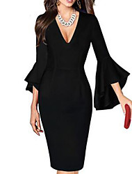 cheap -Women's Plus Size Sheath Dress - Half Sleeve Print Spring Summer Deep V Sexy Work Flare Cuff Sleeve Black / Red Black / White Red / White Rainbow White Black Purple Red Blushing Pink Green S M L XL