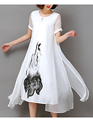 cheap -Women's Plus Size Going out Loose Chiffon Dress - Floral White, Print Summer White Black XXXL XXXXL XXXXXL
