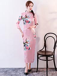 abordables -Adultes Femme Style Chinois Cheongsam Pour Uniformes Club Mélange Poly / Coton Midi Cheongsam