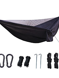 cheap -Camping Hammock with Mosquito Net Camping Hammock Outdoor Fast Dry Decoration Adjustable Flexible Hemp Rope Pure Cotton with Carabiners and Tree Straps for 1 person Black Dark Green Army Green