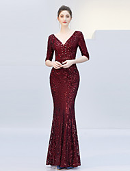 cheap -Mermaid / Trumpet V Neck Floor Length Tulle / Sequined Elegant & Luxurious / Elegant Formal Evening Dress with Sequin 2020