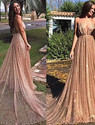 cheap -A-Line Spaghetti Strap Floor Length Sequined Elegant Formal Evening Dress 2020 with Sequin