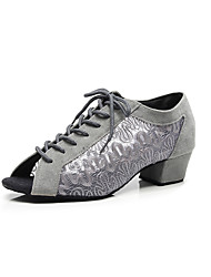 cheap -Women's Dance Shoes Lace Latin Shoes Lace Heel Thick Heel Customizable Black / Dark Gray / Performance / Practice