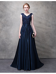 cheap -A-Line V Neck Sweep / Brush Train Polyester Open Back Formal Evening Dress 2020 with Beading / Appliques