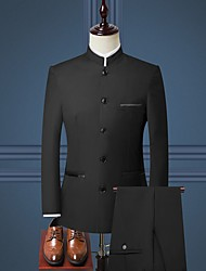 cheap -Tuxedos Tailored Fit / Standard Fit Mandarin Single Breasted More-button Cotton Blend / Cotton / Polyester Solid Colored