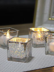 cheap -Square Plating Glass Candlestick Desktop Decoration Wedding Decoration