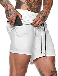 cheap -Men's Running Shorts Athletic Shorts Bottoms Fitness Gym Workout Running Tummy Control Breathable Quick Dry Plus Size Sport White Black Army Green Khaki Gray Fashion / Stretchy