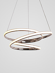 cheap -1-Light LED Pendant Light Twist 3-Layers 48cm Circular Chrome Chandelier 40W Lighting Lamp Ambient Light for Living Room Kitchen