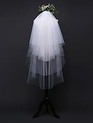 Недорогие -Четыре слоя Стиль / Простой Свадебные вуали Фата до кончиков пальцев с Однотонные 45,28 В (115см) Тюль / Овальная