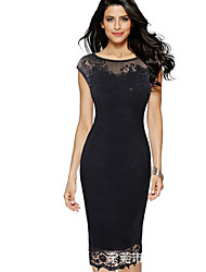 cheap -Women's Plus Size Sheath Dress - Solid Colored Lace Black Purple Red S M L XL