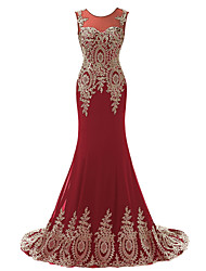 cheap -Mermaid / Trumpet Jewel Neck Court Train Chiffon Luxurious / Red Engagement / Formal Evening Dress with Appliques 2020