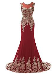 cheap -Mermaid / Trumpet Jewel Neck Sweep / Brush Train Chiffon Elegant Formal Evening Dress 2020 with Appliques