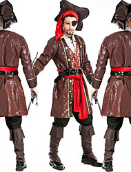 cheap -Captain Jack Sparrow Costume Men's Pirates Cosplay Costumes Theme Party Costumes Men's Dance Costumes Polyester Cap Outfits