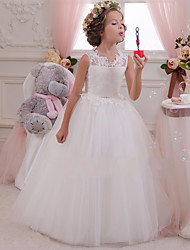 cheap -Princess Maxi Wedding / Birthday / First Communion Flower Girl Dresses - Lace / Tulle / Cotton Sleeveless Scalloped Neckline with Lace / Appliques / Crystals / Rhinestones