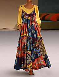 cheap -Women's Maxi Plus Size Yellow Red Dress Swing Patchwork M L Loose