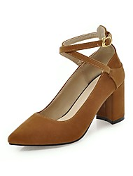 cheap -Women's Heels Suede Shoes Block Heel Pointed Toe Buckle Synthetics Classic / British Fall / Spring & Summer Yellow / Green / Wine / Party & Evening