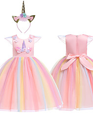 cheap -Princess Unicorn Cosplay Costume Masquerade Flower Girl Dress Girls' Movie Cosplay A-Line Slip Cosplay Vacation Dress Purple / Yellow / Pink Dress Headwear Christmas Halloween Carnival Tulle Cotton
