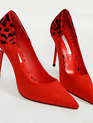 cheap -Women's Heels Stiletto Heel Pointed Toe Animal Print Leather Casual Spring &  Fall Black / Light Red / Party & Evening / Leopard / Party & Evening