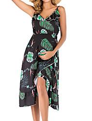 cheap -Women's Midi Maternity White Black Dress A Line S M