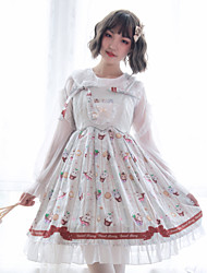 cheap -Sweet Lolita Princess Lolita Cute Dress Blouse / Shirt Cosplay Costume Halloween Props All Velvet Chiffon Japanese Cosplay Costumes White Print Animal Bowknot Bishop Sleeve Long Sleeve Knee Length