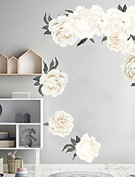 cheap -White Beautiful Flowers Wall Stickers - Words &ampamp Quotes Wall Stickers Characters Study Room / Office / Dining Room / Kitchen
