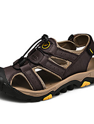 cheap -Men's Fall / Spring & Summer Casual Daily Outdoor Sandals Cowhide Breathable Non-slipping Shock Absorbing Light Brown / Dark Brown / Black