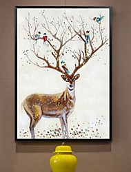 cheap -Framed Oil Painting - Animals Wood Oil Painting Wall Art