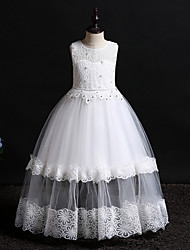 cheap -Princess Floor Length Wedding / Birthday Lace / Tulle / Polyester Sleeveless Jewel Neck with Lace / Bow(s) / Pearls
