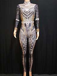 cheap -Exotic Dancewear Rhinestone Bodysuit / Nightclub Jumpsuits / Club Costume Women's Performance Spandex Acrylic Jewels / Crystals / Rhinestones Long Sleeve Leotard / Onesie