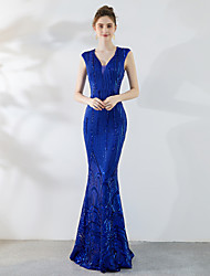 cheap -Mermaid / Trumpet V Neck Sweep / Brush Train Sequined Elegant & Luxurious / Elegant Formal Evening Dress with Sequin 2020