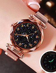 cheap -Women's Quartz Watches Quartz Mesh Stylish Magnetic Water Resistant / Waterproof Analog Rose Gold Black Blue / One Year / Stainless Steel / Starry / Imitation Diamond / One Year