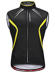 cheap -WOSAWE Men's Sleeveless Cycling Vest Black / Yellow Bike Vest / Gilet Jersey Reflective Strips Back Pocket Sweat-wicking Sports Reactive Print Mountain Bike MTB Road Bike Cycling Clothing Apparel