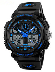 cheap -SKMEI Men's Dress Watch Quartz Silicone Black 50 m Water Resistant / Waterproof Chronograph Noctilucent Analog - Digital Outdoor Fashion - Red Blue Light Green Two Years Battery Life