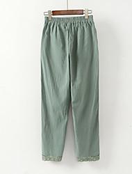 cheap -Women's Street chic Plus Size Loose Harem / Chinos Pants - Solid Colored Black & White, Print Cotton / Linen White Green M L XL