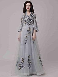 cheap -A-Line Chinese Style Holiday Formal Evening Dress V Wire 3/4 Length Sleeve Floor Length Lace Tulle with Appliques 2020