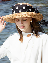 cheap -Natural Fiber Straw Hats with Ribbons 1pc Casual / Daily Wear Headpiece