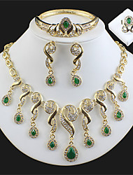 cheap -Women's Multicolor Bridal Jewelry Sets Link / Chain Teardrop Stylish Luxury Rhinestone Earrings Jewelry Green / Dark Red For Christmas Wedding Party Engagement Gift Prom 1 set