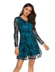 cheap -Women's Street chic Elegant A Line Dress - Solid Colored Patchwork Lace Trims V Neck Lace Black Red Green M L XL XXL Belt Not Included