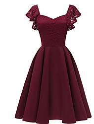 cheap -A-Line Square Neck Knee Length Jersey Bridesmaid Dress with Lace