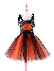 cheap -Kids Toddler Girls' Active Cute Black & Gray Plants Backless Mesh Patchwork Sleeveless Knee-length Dress Orange