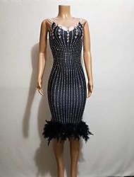 cheap -Exotic Dancewear Rhinestone Bodysuit / Nightclub Jumpsuits / Club Costume Women's Performance Spandex Feathers / Fur / Pattern / Print / Acrylic Jewels Sleeveless Dress