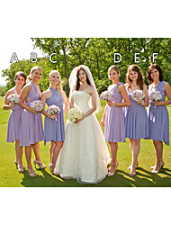 cheap -A-Line One Shoulder / Cross Front Knee Length Chiffon Bridesmaid Dress with Ruching / Pleats