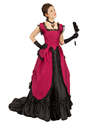 cheap -Duchess Victorian 1910s Edwardian Dress Party Costume Masquerade Women's Lace Costume Black / Red Vintage Cosplay Christmas Party Halloween Sleeveless Floor Length Ball Gown