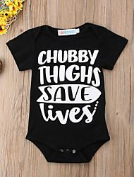 cheap -Baby Boys' Active / Basic Geometric / Print Print Short Sleeves Bodysuit Black