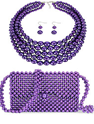 cheap -Women's Purple Drop Earrings Necklace Earrings Beaded Simple Luxury Classic Vintage Fashion Imitation Pearl Earrings Jewelry Purple For Wedding Party Engagement Gift Street Three-piece Suit